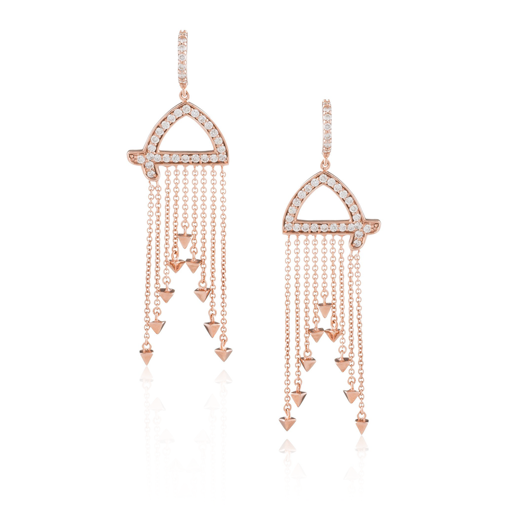 18k Rose Gold Earrings with White Diamonds