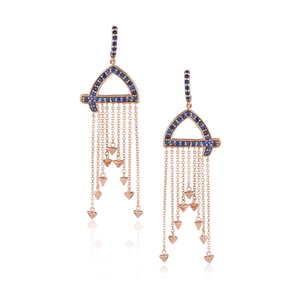 Load image into Gallery viewer, 18k Rose Gold Earrings with Blue Sapphires