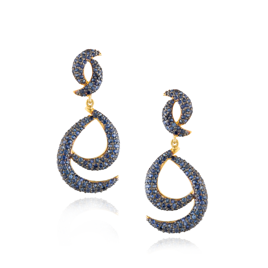 925 Silver Earring Plated in Gold with Blue Sapphires