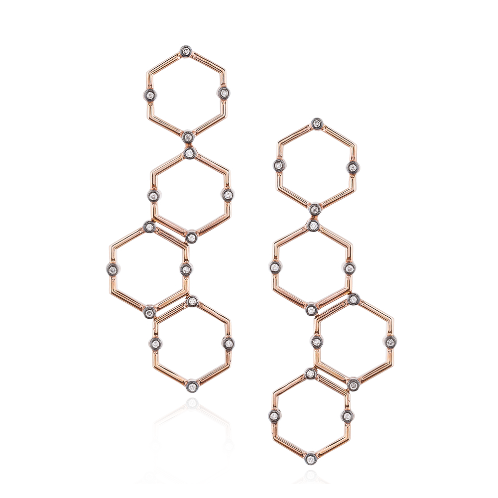 925 Silver Hexagon Earrings with White Sapphires