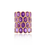 925 Silver O Ring with Oval Cut Amethysts