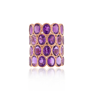 Load image into Gallery viewer, 925 Silver O Ring with Oval Cut Amethysts