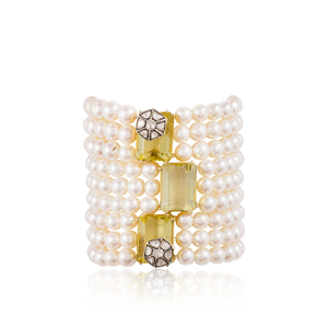 18k Yellow Gold Bracelet with Pearls, Quartz and Diamonds