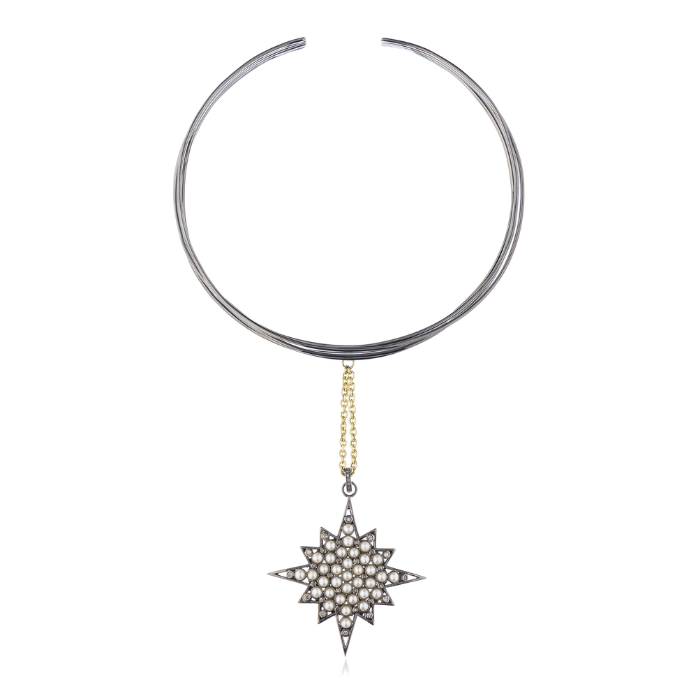Load image into Gallery viewer, 925 Silver Star Choker with Diamonds & Freshwater Pearls