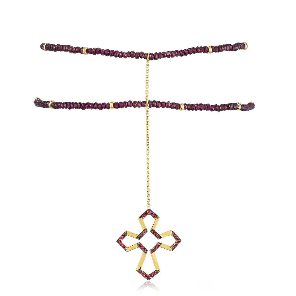 925 Silver Cross Choker with Rubies & Garnets