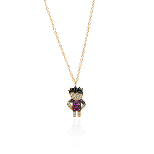 18K Rose Gold Chain Necklace with Boy Pendant