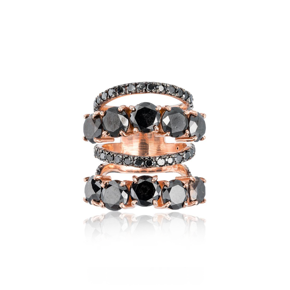 Load image into Gallery viewer, 14k Rose Gold Ring with Black Diamonds