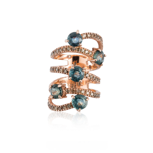 14k Rose Gold Ring with Sapphires and Diamonds