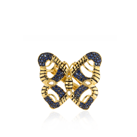 925 Silver Butterfly Ring with Blue Sapphires