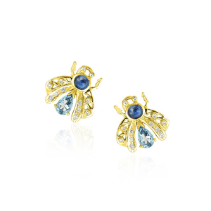 Load image into Gallery viewer, 18K Gold Bee Earrings