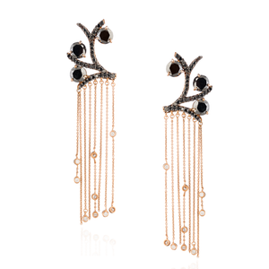 Load image into Gallery viewer, 14K Rose Gold Earrings with Black Diamonds