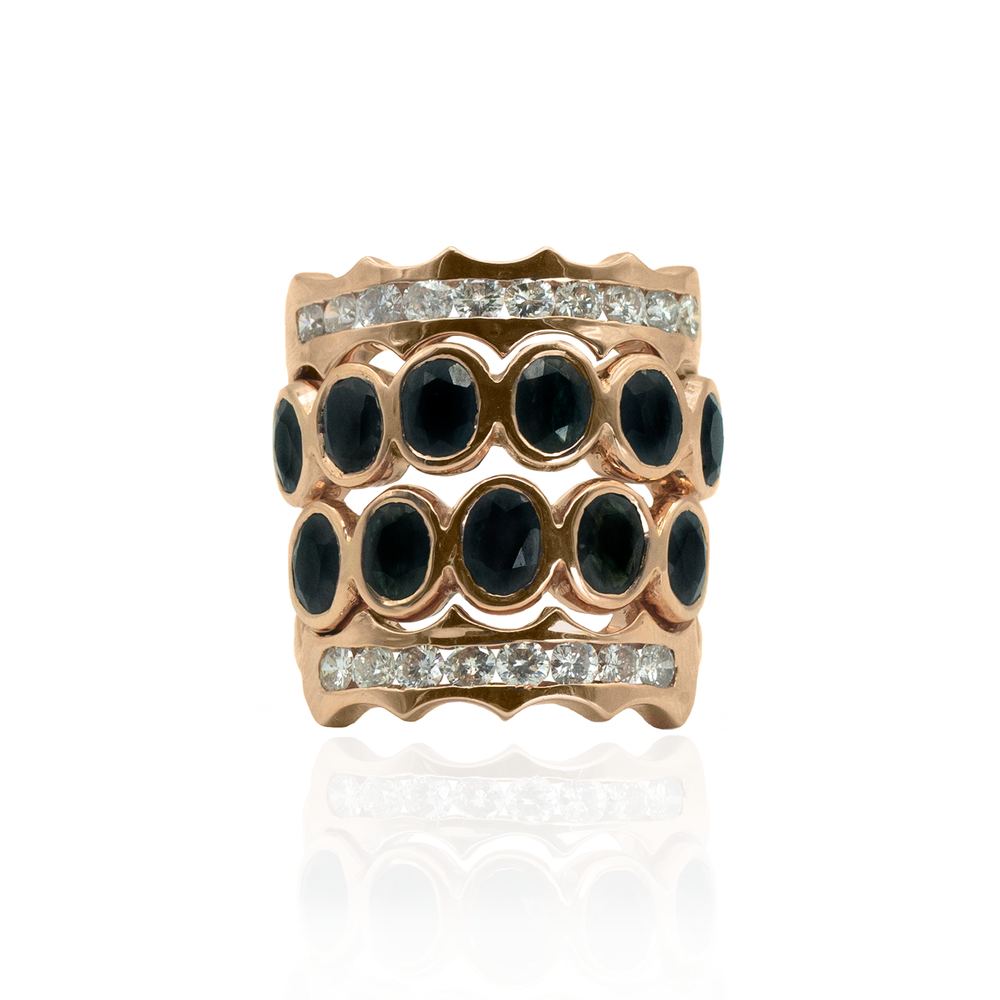 18K Rose Gold Ring with Black Sapphires