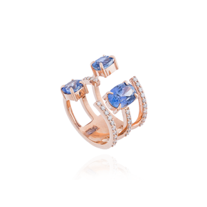 14K Rose Gold Ring with Blue Sapphires