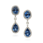 18K White Gold Earrings with Blue Sapphires