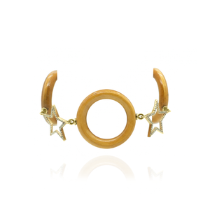 Load image into Gallery viewer, 14K Gold Bracelet with Wood & Diamonds