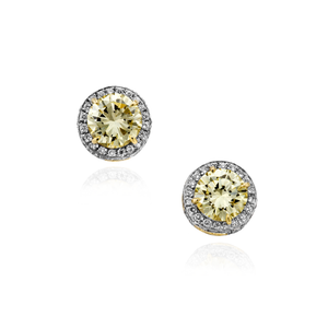 Load image into Gallery viewer, 18K White & Yellow Gold Earring Studs with Fancy Yellow Diamond