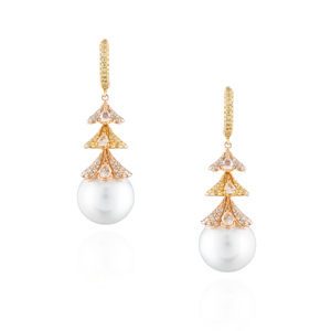 18K Yellow & Rose Gold Earrings with South Sea Pearls