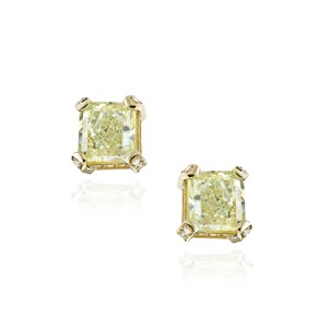 Load image into Gallery viewer, 18K Yellow Gold Yellow Diamond Studs
