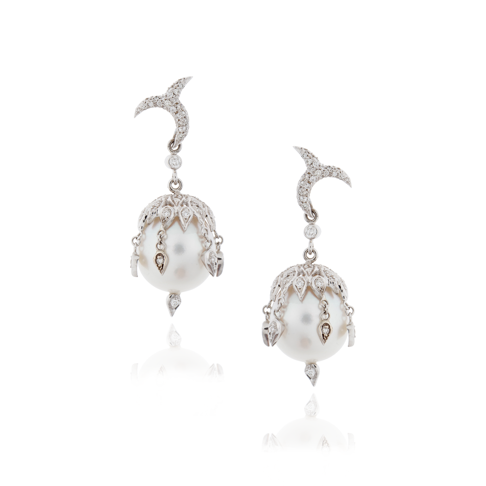 18K White Gold Earrings with Pearls & Diamonds