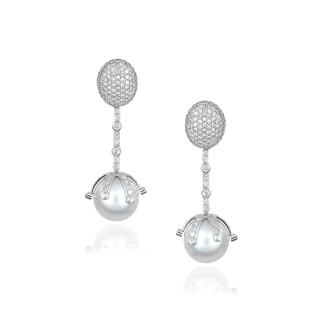 18K White Gold Earrings with Pearls & Diamond Pavé