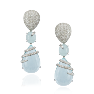 18K White Gold Earrings with Aquamarines & Diamond Pavé
