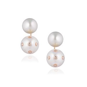 18K Rose Gold Earrings with Freshwater Pearls & Diamonds