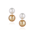 18K Yellow Gold Earrings with White & Champagne South Sea Pearls