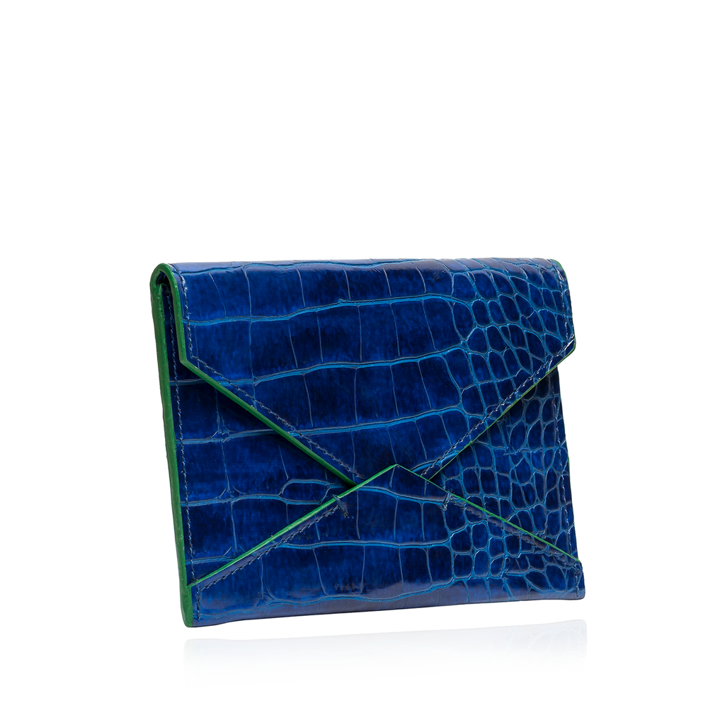 ID & Card Envelope in Blue with Green Croc Texture