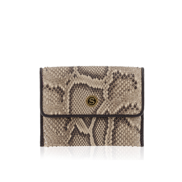 Tan Python Leather Credit Card Case