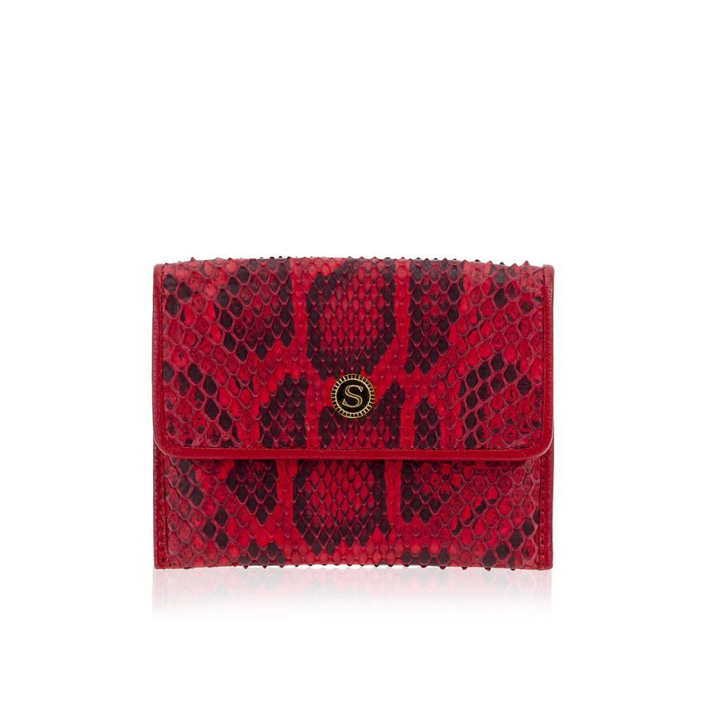 Red Python Leather Credit Card Case