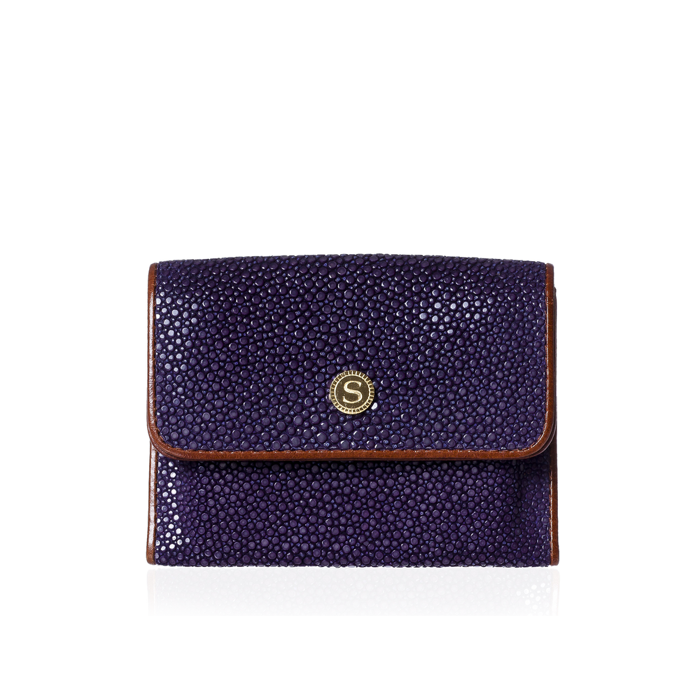 Load image into Gallery viewer, Purple and Brown Stingray Leather Credit Card Case