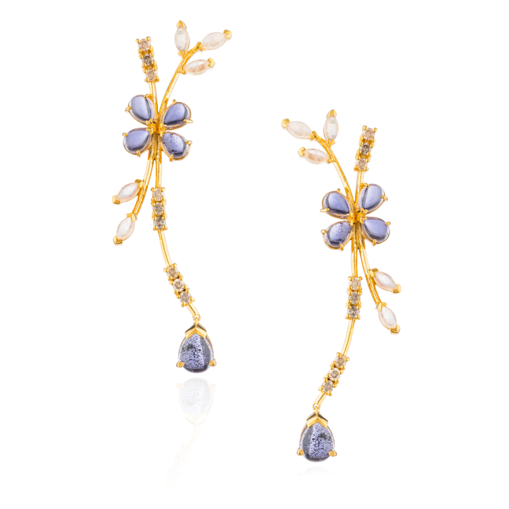 925 Silver Earrings Plated in 18K Yellow Gold with Iolite Cabochons, Moonstones & Cognac Diamonds