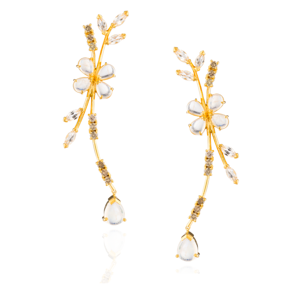 Load image into Gallery viewer, 925 Silver Earrings Plated in 18K Yellow Gold with Moonstone, Cognac Diamonds & Crystals