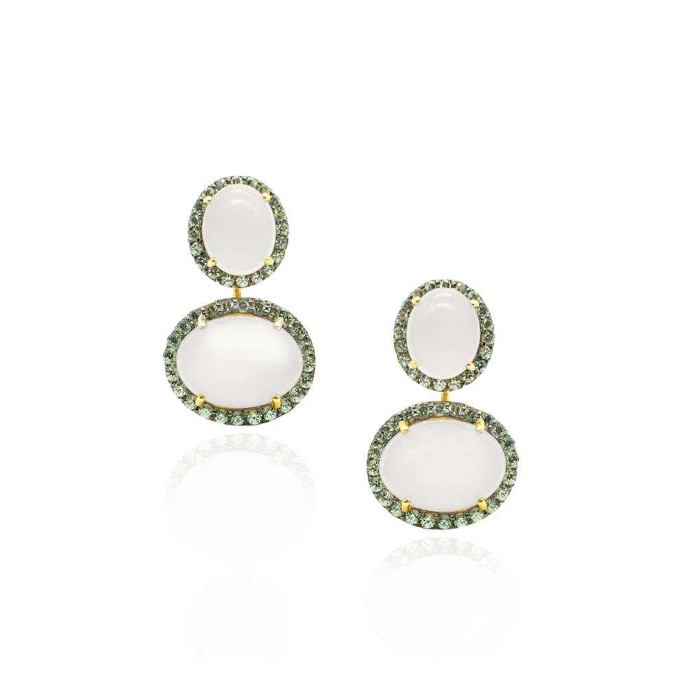 925 Silver Earrings with Moonstone Cabochons & Green Sapphires