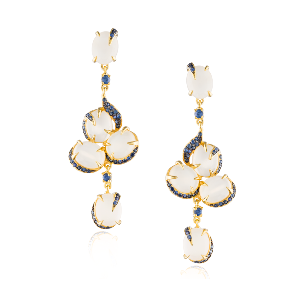 Load image into Gallery viewer, 925 Silver Earrings with Moonstone Cabochons & Blue Sapphires