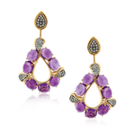 925 Silver Earrings with Amethyst Cabochons & Green Sapphires