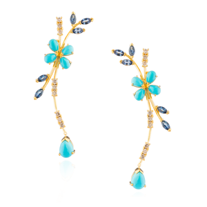 925 Silver Earrings Plated in Gold with Turquoise, Cognac Diamonds & Blue Sapphires