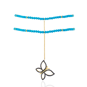 Load image into Gallery viewer, 925 Silver Butterfly Choker with Turquoise & Sapphires