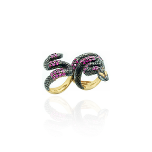 925 Silver Double Finger Snake Ring Plated in Black Rhodium with Rubies