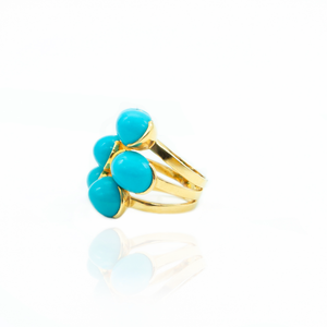 18 K Yellow Gold Ring with Turquoises
