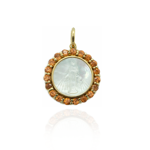 18K Yellow Gold Medal of Our Lady Grace in Mother of Pearl with Orange Garnet