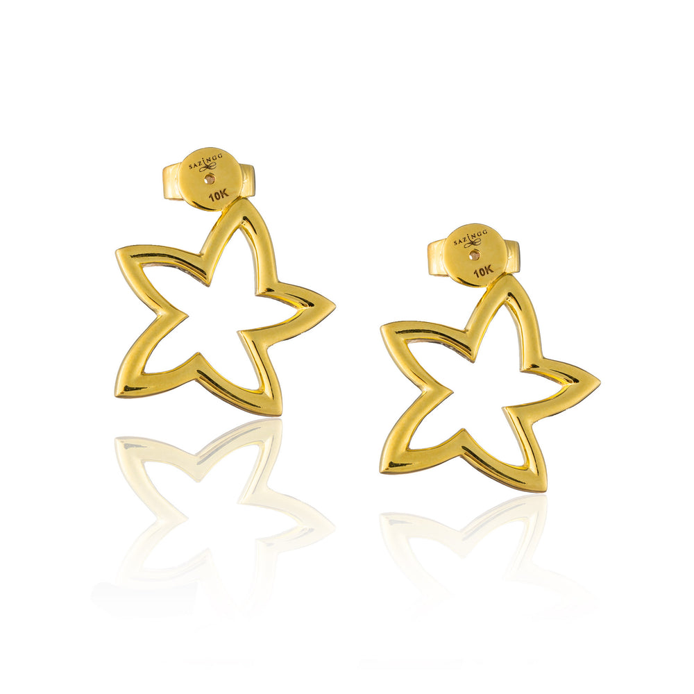 Load image into Gallery viewer, Double Starfish Earring in Pink and Yellow Gold