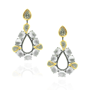 925 Silver Earrings with Topaz Cabochon & Green Sapphire