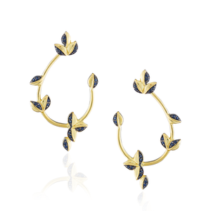 925 Silver Earrings Plated in Gold with Blue Sapphire