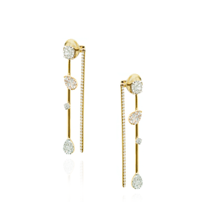 Load image into Gallery viewer, 18K Yellow Gold Earrings with White Diamonds