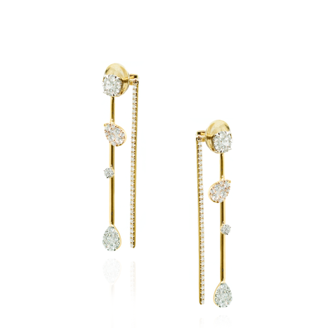 18K Yellow Gold Earrings with White Diamonds