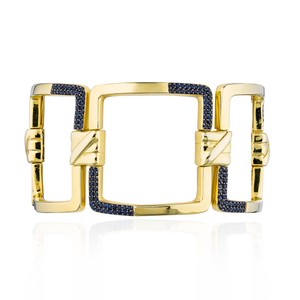 Load image into Gallery viewer, 925 Silver Bracelet in Blue Sapphire Pavé