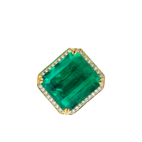 18K Yellow Gold Ring with Emerald