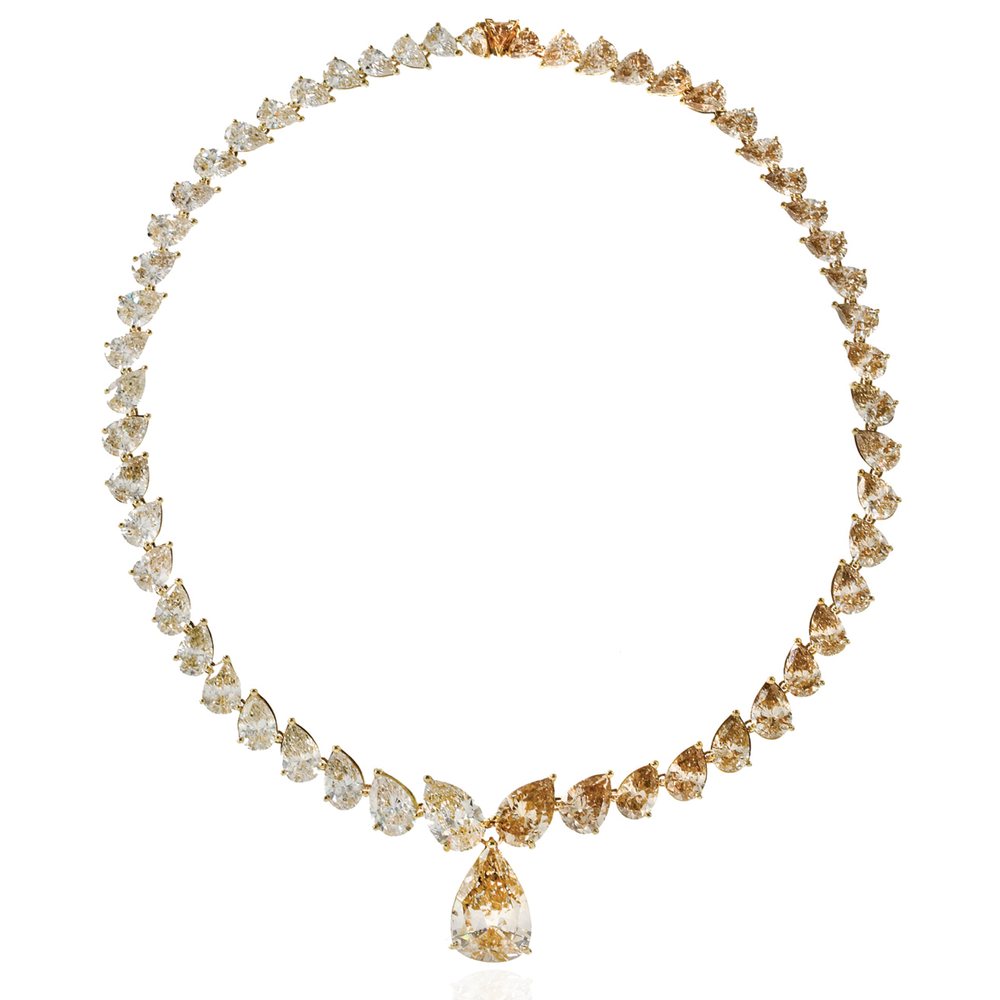 18K Yellow Gold Necklace with White & Cognac Diamonds