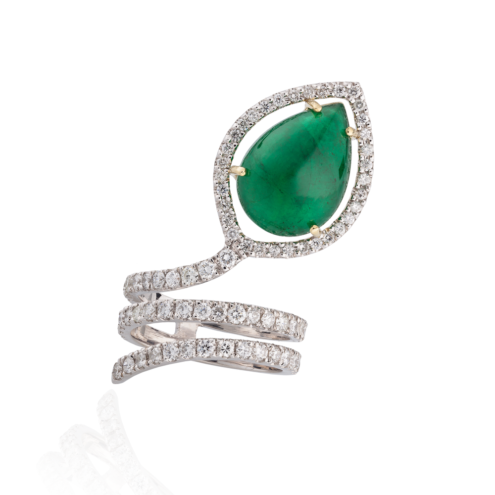 18K White Gold Snake Ring with Pear Shaped Emerald Cabochon